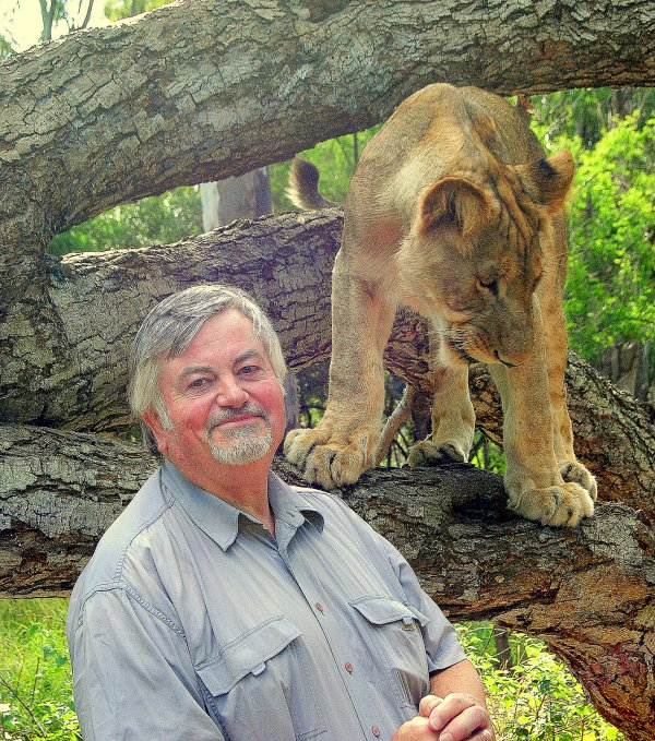 Roger Cook with lioness